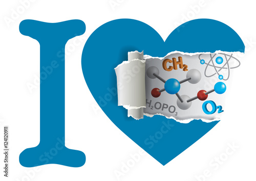Heart With Chemistry Symbols Torn Paper Heart Chemistry With