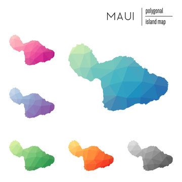 Set of vector polygonal Maui maps filled with bright gradient of low poly art. Multicolored island outline in geometric style for your infographics.