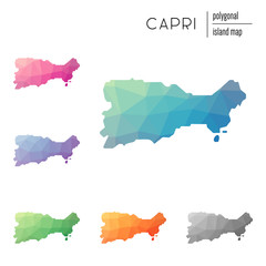 Set of vector polygonal Capri maps filled with bright gradient of low poly art. Multicolored island outline in geometric style for your infographics.