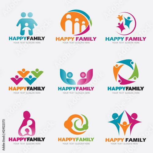 """Happy Family logo vector illustration set design"" Stock ..."
