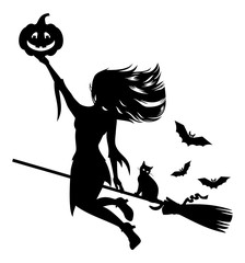 Silhouette of a witch flying on broom with black cat and Halloween pumpkin