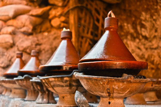 Cooking traditional Moroccan tajine
