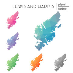Set of vector polygonal Lewis and Harris maps filled with bright gradient of low poly art. Multicolored island outline in geometric style for your infographics.
