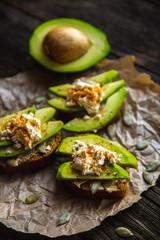 Sandwich with Avocado, on rye bread unleavened