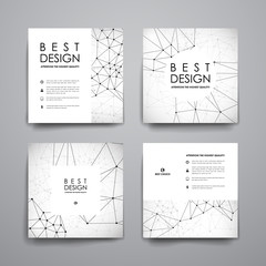 Set of modern design banner template in Molecular structure style