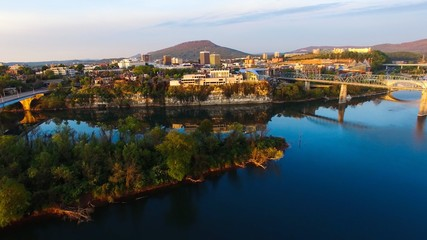 Photo on textile frame City on the water Aerial drone shots of Chattanooga