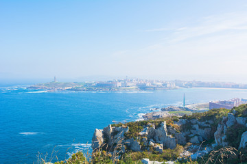 Poster de jardin Océanie Panorama della città di La Coruna in Spagna. Vista dell'Oceano Atlantico