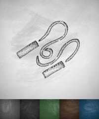 skipping rope icon. Hand drawn vector illustration