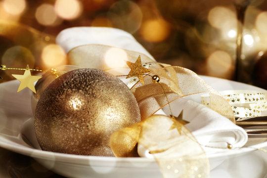 Christmas table decoration for a festive dinner