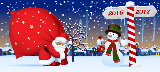 Santa Claus and Snowman with a New Year sign