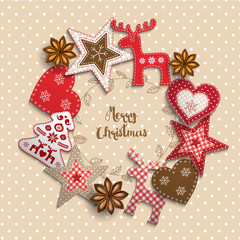 Christmas motive, small scandinavian styled decorations lying on beige polka dotted background, illustration