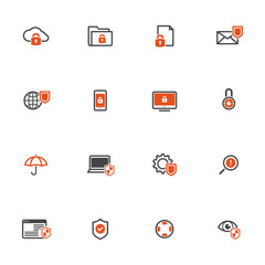 Data security protection icons set