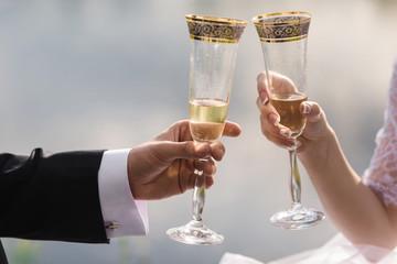 wedding toast closeup