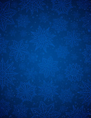 Blue christmas background with snowflakes and stars, vector illu