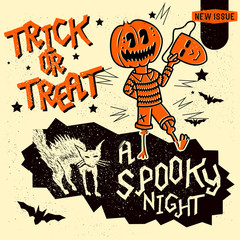 Set of retro vintage halloween design elements including signs, lettering and hand drawn characters. Vector illustration