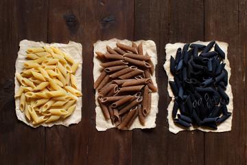 Three types of penne pasta
