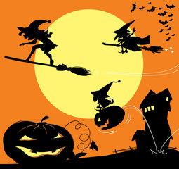 Old witch on a broom, surfing young witch girl and little witch girl jumping on a pumpkin. Halloween cartoon silhouette vector illustration