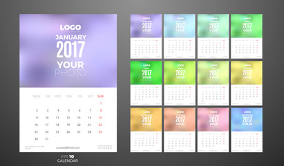 Wall Monthly Calendar 2017 with Place for Photo.