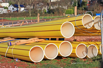 Gas pipes on a construction site