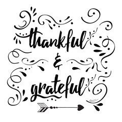 Thankful grateful vector hand drawn card decorated floral ornament
