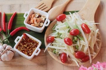 Spicy papaya salad is delicious ,thai food.