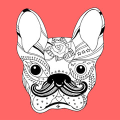 french bulldog sugar skull, frenchie cute dog day of the dead, vector hand drawn illustration design