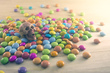 skull head and candy