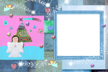 Christmas photo frame card for baby and kids