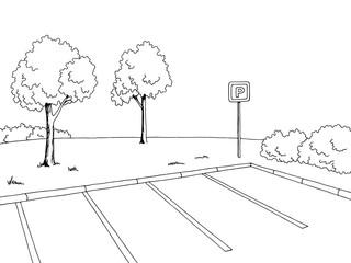 Parking graphic art black white landscape sketch illustration vector