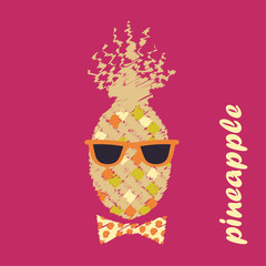 Poster Pineapple with glasses. Vector illustration.