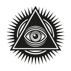Masonic Symbol. All Seeing Eye Inside Pyramid Triangle Icon. Vector