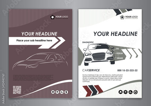 A5 A4 Set Service Car Business Card Templates Auto Repair Leaflet