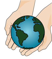The Earth in Two Hands - Vector Illustration