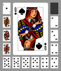 Playing cards of Spades suit and back on gray background