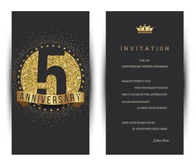 5th anniversary decorated greeting card template.