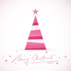 Modern stylized Christmas tree with handwritten Merry Christmas