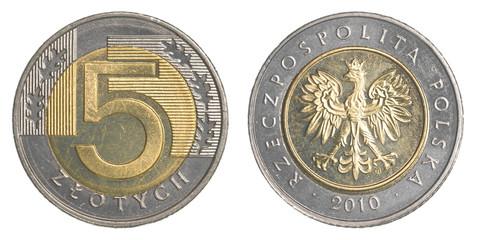five Polish Zloty coin