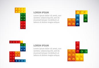Colorful Building Blocks Element Infographic Set 1