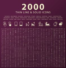 Set of 2000 Minimal and Solid Icons. Vector Isolated Elements.