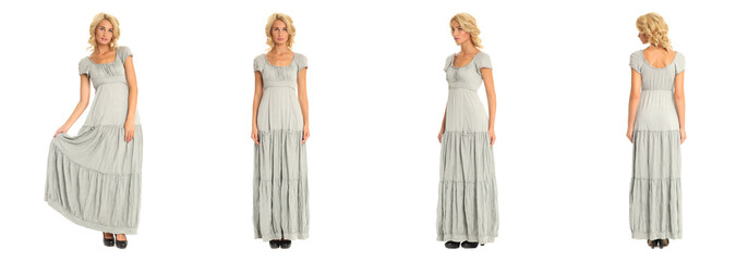 Beautiful blonde woman in maxi dress isolated on white