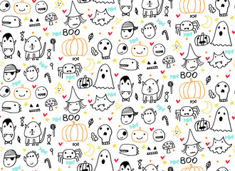 Seamless Halloween pattern for card, flayer, banner, poster templates. Hand drawn traditional symbols, cute design elements, handwritten ink lettering.Children's style.