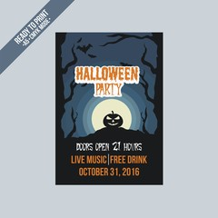 Halloween party flyer poster vector template