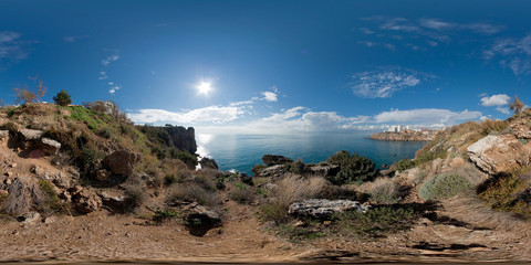 360 degree spherical panorama from Turkey, Antalya (Lara region). Park Falez. Landscape with sea, mountains, trees, rocks and the city in the background.