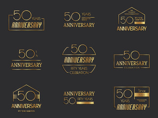 Fifty years anniversary celebration logotype. 50th anniversary logo set.