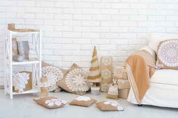 Cozy home corner Christmas decoration ideas with lace and linen