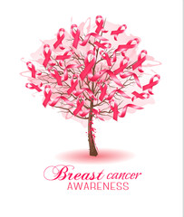 Sakura tree with breast cancer awareness ribbons. Vector.
