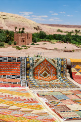 carpets at ancient kasbah ait benhaddou in morocco