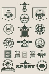 The collection of body building and fitness design elements. Emblems and stamps, quotes and silhouette