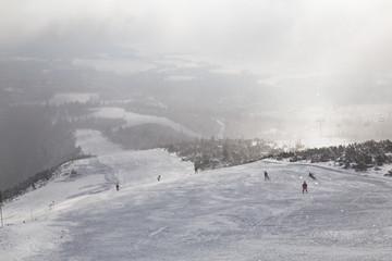 Ski slope in mountain resort
