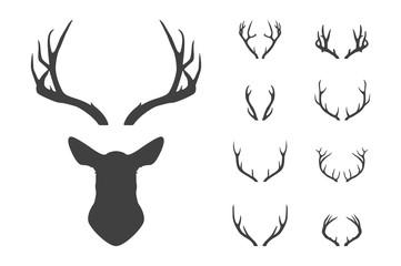 Deer s head and antlers set. Wall mural